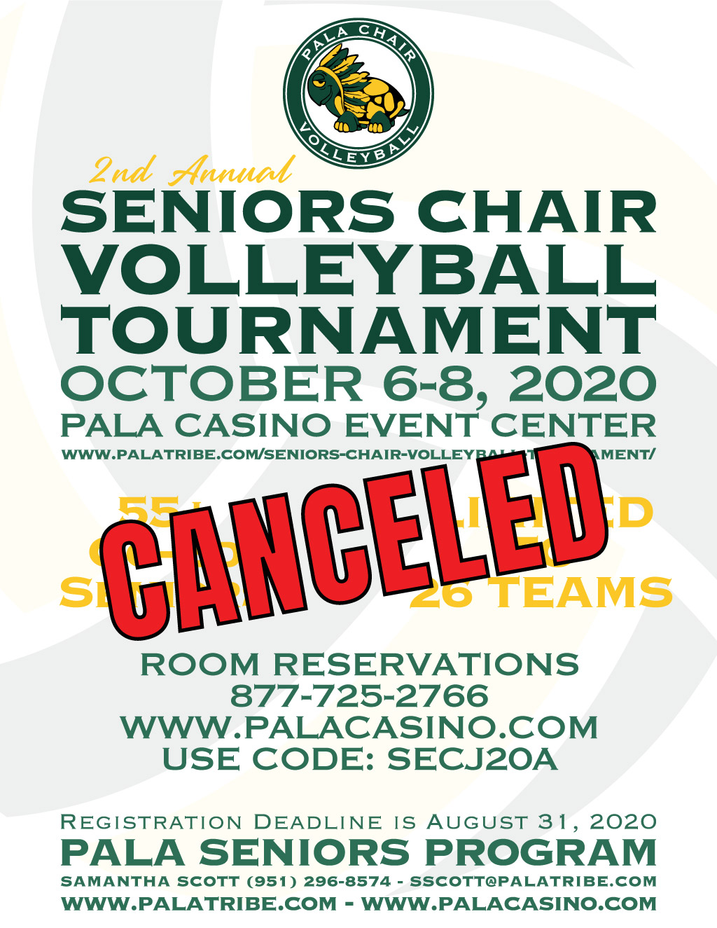 Pala Band of Mission Indians Seniors Chair Volleyball Tournament 2020 Pala Seniors Program