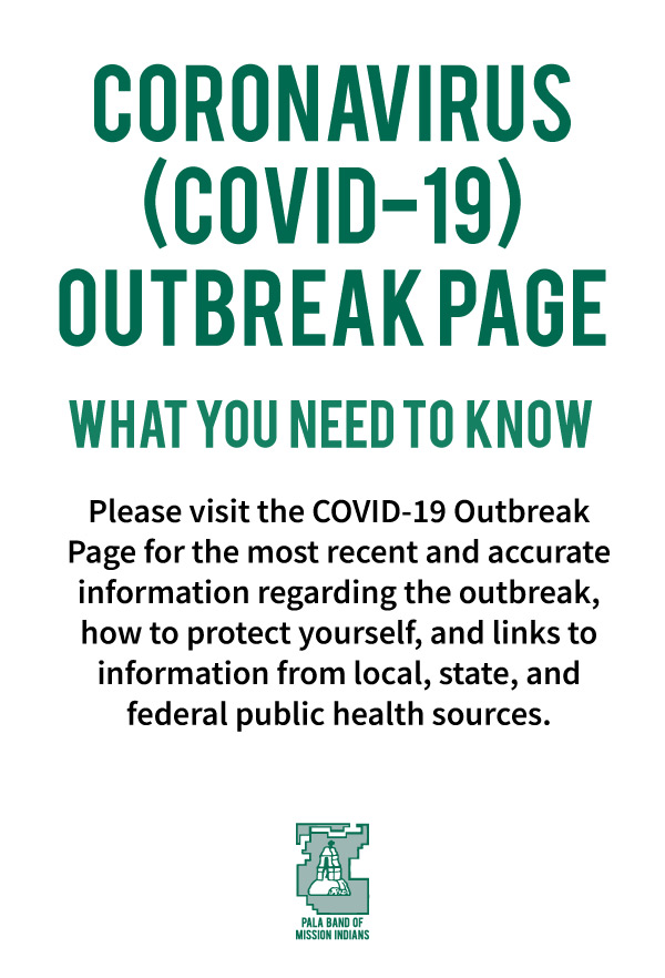 Pala Band California Environmental Department PED Coronavirus Covid-19 Outbreak Page