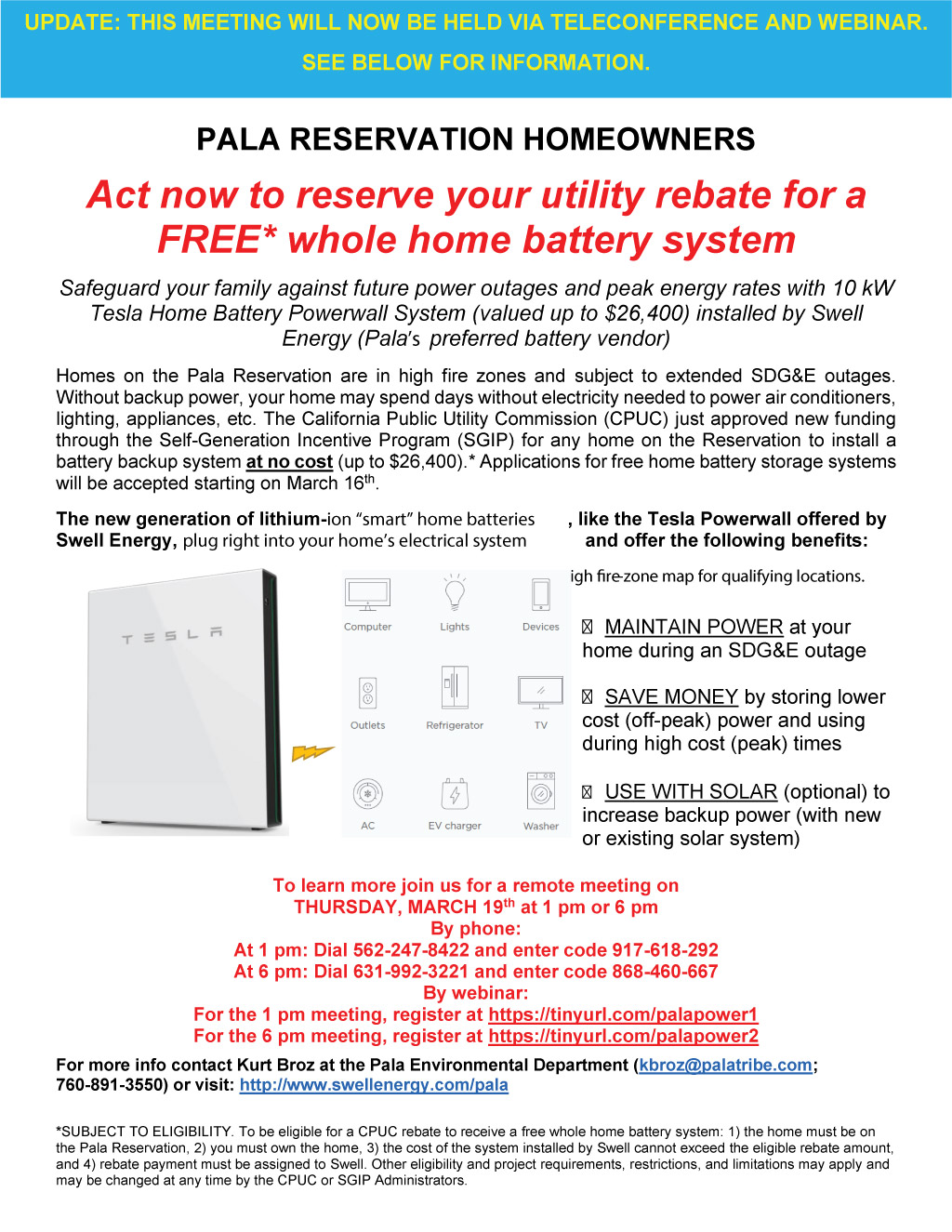 Pala Band of Mission Indians PBMI Home Battery System Webinar