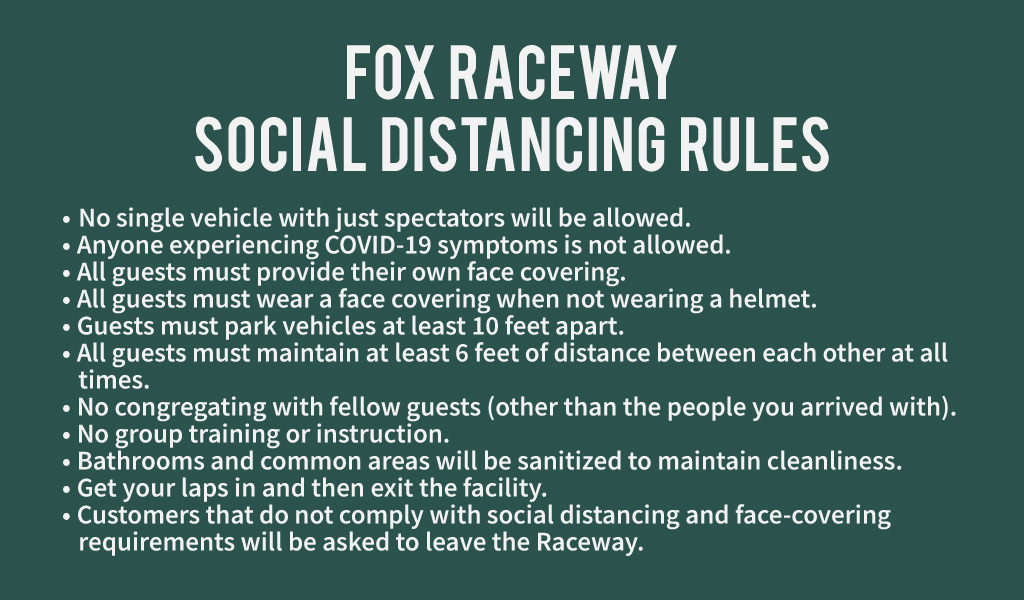 Pala Band of Mission Indians PBMI Pala Fox Raceway Social Distancing Rules