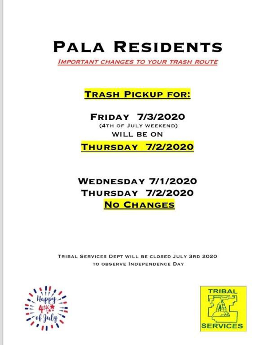 Pala Band of Mission Indians Trash Route Schedule