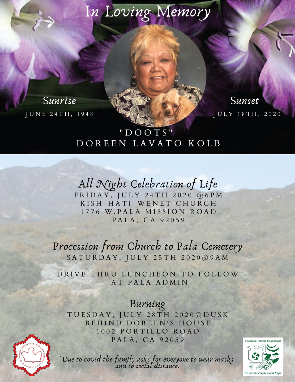 Pala Band of Mission Indians In Memoriam Doreen Doots Lavato Kolb