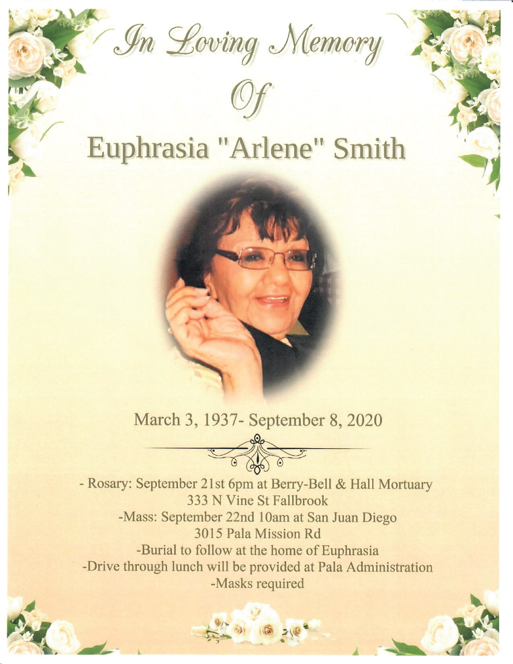Pala Band of Mission Indians In Memoriam Euphrasia Arlene Smith