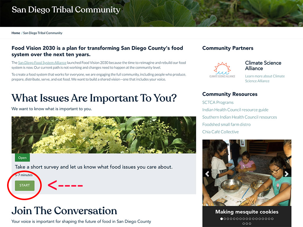 Pala Band of Mission Indians Pala San Diego County Food Visions 2020 Tribal Communities Survey